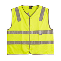 >> Sale << SW03 Sz 3XL; High Visibility Safety Vest 100% Polyester w 3M Tape; Fluoro Yellow