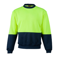 >> Sale << SW09 Sz L; High Visibility Polar Fleece Windcheater 20% Cotton 80% Polyester; Fluoro Yellow Navy