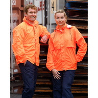 AIW SW27; Unisex High Visibility Safety Waterproof Spray Rain Jacket; 100% Nylon/Polyester, with pouch bag