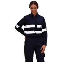AIW WT08HV; Womens Work Shirt 100% Cotton Drill w 3M Tapes