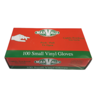 MP001 MaxValu 100 x Small White Vinyl Gloves Lightly powdered