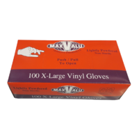 MP004 MaxValu 100 x Extra Large White Vinyl Gloves Lightly powdered