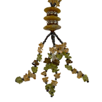 NL01 Beaded Necklace with stone and glass; Green, Yellow, Black