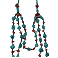 NL03 Beaded Necklace w stone; Turquoise, Red