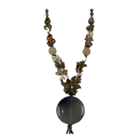 NL08 Beaded Necklace w stone and glass; Natural, Brown, White