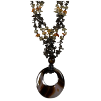 NL10 Beaded Necklace w stone and glass; Natural, Amber, Black