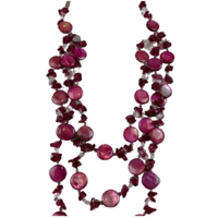 NL17 Beaded Necklace w glass; Red, Pink
