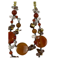 NS01 Beaded Necklace w stone; Amber, Black, Gold, Clear