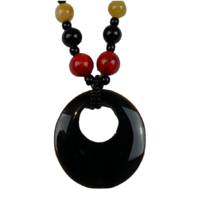 NS02 Beaded Necklace w stone; Amber, Black, Red