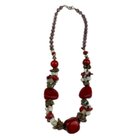 NS03 Beaded Necklace w stone; Red / Natural / White