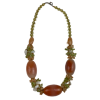 NS04 Beaded Necklace w stone and glass; Peach / Green