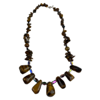 NS05 Beaded Necklace w stone; Tan, Brown