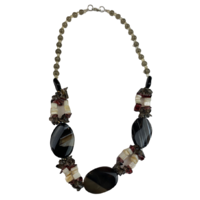NS06 Beaded Necklace w stone and glass; Black / Natural / White