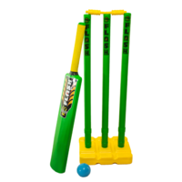 PD041; Plastic Beach Cricket Set; Bat, ball, stand, stumps; Green