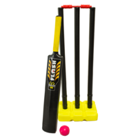PD042; Plastic Beach Cricket Set; Bat, ball, stand, stumps; Black