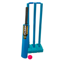 PD043; Plastic Beach Cricket Set; Bat, ball, stand, stumps; Blue