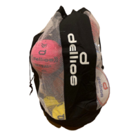 PD050; Black Mesh/Vinyl Sports Ball Carry Bag; Holds 15 full sized balls