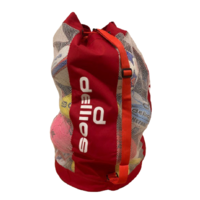 PD052; Red Mesh/Vinyl Sports Ball Carry Bag; Holds 15 full sized balls