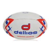 PD016 ; Dellios Rugby Senior League Ball, Size 5; Red/Blue