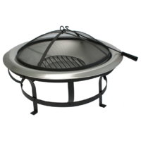 OFP023  76 cm dia; Deluxe Fire Pit w Stainless Steel firebowl; Black