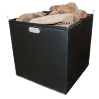 WC03; 50cm LWD Cube; Collapsible Steel Wood Box / Crate; Black