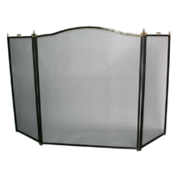 FS30-3 Steel 3 panel Firescreen; Black 66cm W 77cm H