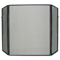 FS02-3; 79cm H; HD Steel Firescreen; Black ; 3 Hinged panels