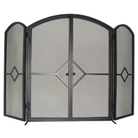 FS01-3; 79cm H; HD Steel Firescreen; Black ; 3 Hinged panels w Doors