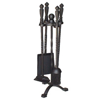 FPT036  23x57cm; 4 piece Fire Tool set w Stand; Black