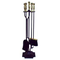 FPT032  24x77cm; 4 piece Fire Tool set w Stand; Brass/Black
