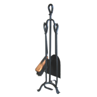 FPT025  23x75cm; Tongio 4 piece Fire Tool set w Stand; Black