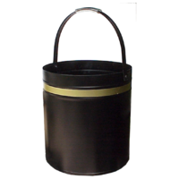 WC12-G; 39cm H; Round Steel Wood Bucket Carrier; Black w Gold band