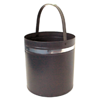 WC12-S; 39cm H; Round Steel Wood Bucket Carrier; Black w Silver band
