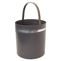 WC13-S; 39cm H; Round Steel Wood Bucket Carrier; Grey w Silver band