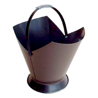 WC10-B; 38cm H; Tapered Round Steel Wood Bucket Carrier; Black
