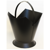 WC11-B; 49cm H; Tapered Round Steel Wood Bucket Carrier; Black
