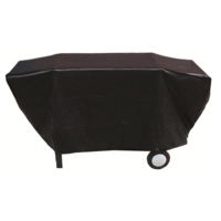 BQC031 65x162cm Deluxe flannel-backed 3-4 burner BBQ Cover; Black