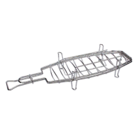 Chrome Whole Fish BBQ Grill Rack; 38cm L; Can cook vertically; Can flip