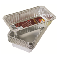 188mm L 110W 35D; Pack of 100 Aluminium Foil Roasting Trays