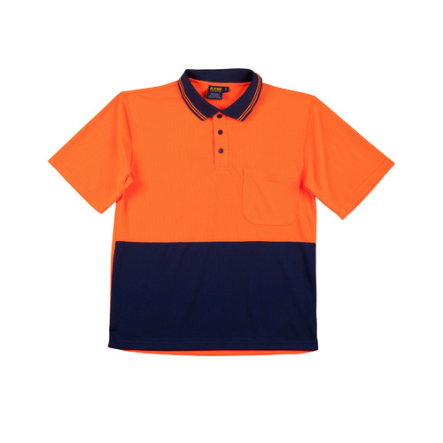 SW01CD Sz 2XL High Visibility Mens Polo Shirt Micro-mesh 100% Polyester; Fluoro Orange Navy