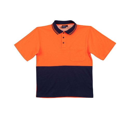 5 of  SW01TD Sz 2XL; High Visibility Safety Polo Shirt 60% cotton 40% Polyester; Fluoro Orange Navy