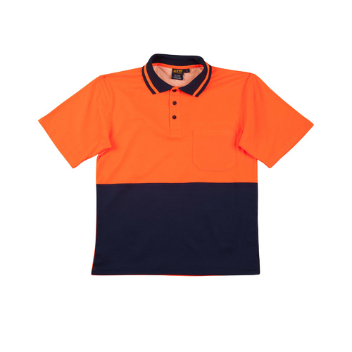 SW12 Sz L; High Visibility Safety Polo Shirt 57% Cotton 43% Polyester; Fluoro Orange Navy