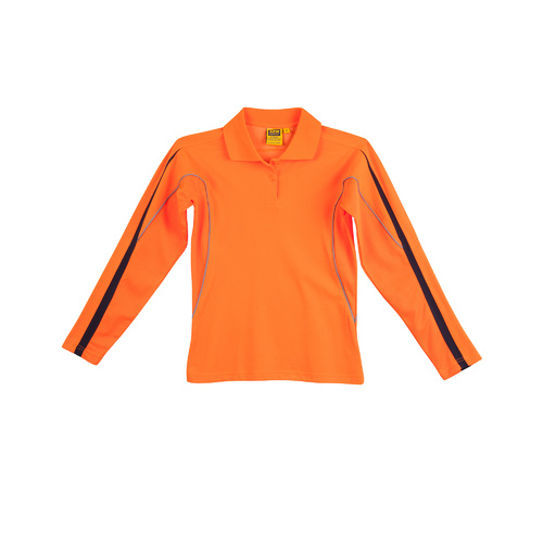 SW34A Sz 08; Womens Safety Polo Shirt 60% Cotton 40% Polyester; Fluoro Orange Navy