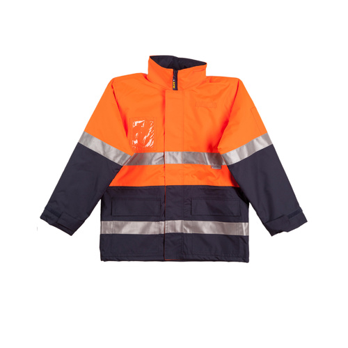 SW50 Sz 2XL; High Visibility Safety Jacket 100% Polyester w Fleece w 3M Tape; Fluoro Orange Navy
