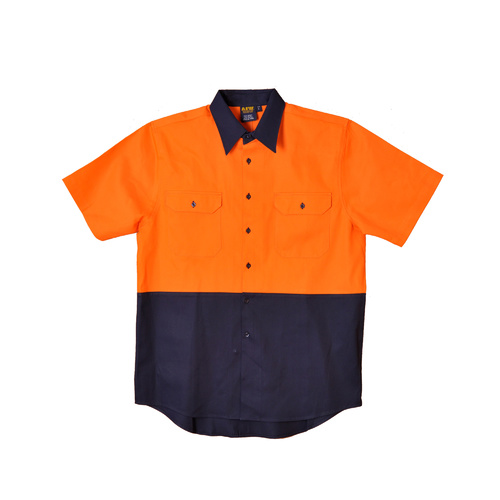 5 of  SW57 Sz 2XL; Safety Work Shirt 100% Cotton Twill; Fluoro Orange Navy