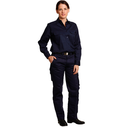 WP15 Sz 08; Womens Drill Pants 100% HEAVY Cotton; Navy