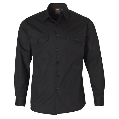 WT02 Sz 2XL; Work Shirt 100% Cotton Twill; Black