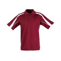 5 of  PS53 Sz L; Fashion Polo Shirt 60% Cotton 40% Polyester; 20 colours; Maroon with White