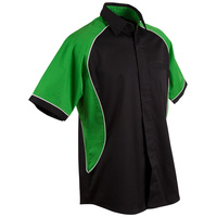 >> Sale << BS15 Sz 4XL Arena Shirt Cotton Twill; 35% Cotton 65% Polyester Black w Green panel, White piping