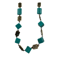 NL09 Beaded Necklace w stone ; Turquoise